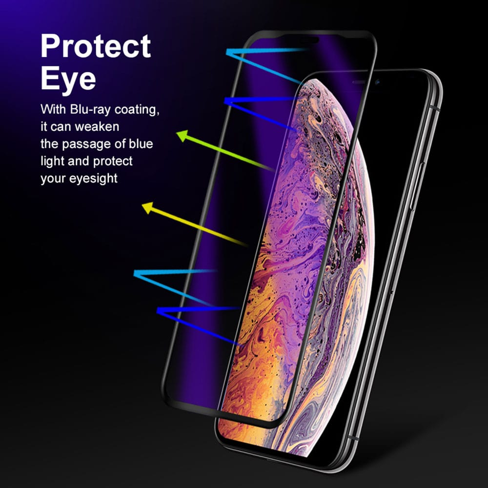 """Iconflang iPhone XS 5.8"""" Armor 3D curved Anti Blue Ray Full Glass Screen"""