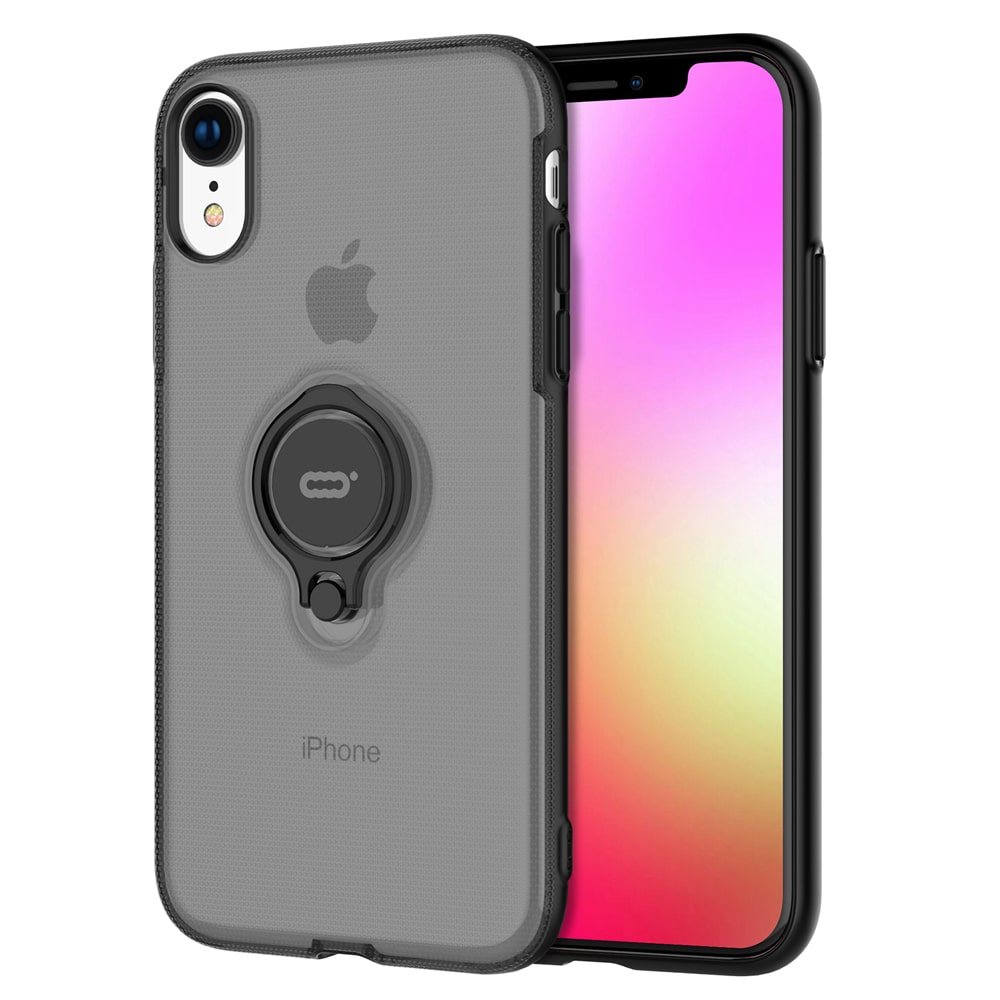 """Icon-Flang iPhone XR 6.1"""" Back Cover with Ring Holder Coolgem - Black"""