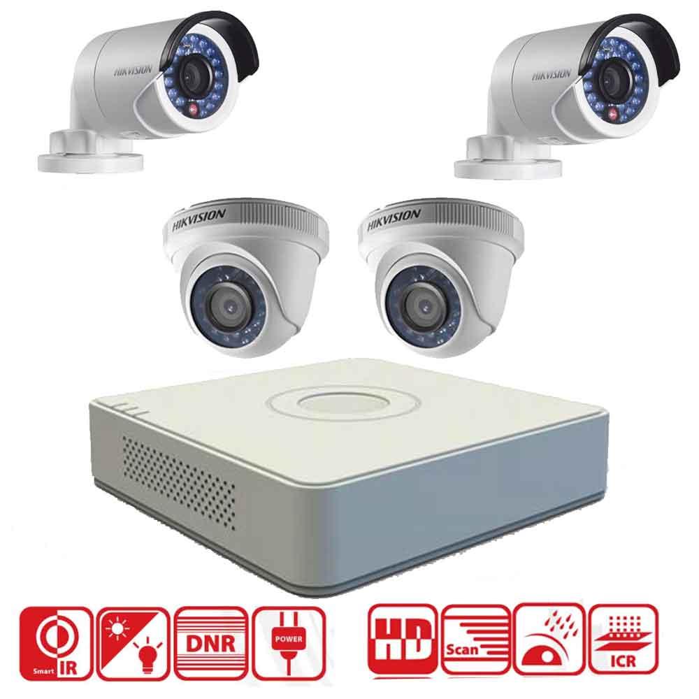 Hikvision 2MP 4CH DVR + 4 Cameras 2MP (Indoor&Outdoor)