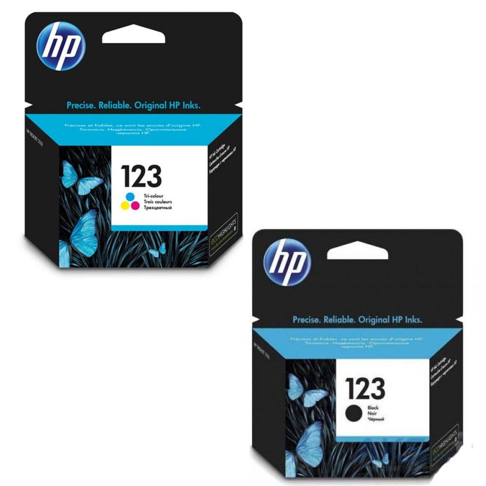 HP 123 Black Original Ink Cartridge + HP 123 Tri-color Original Ink Cartridge