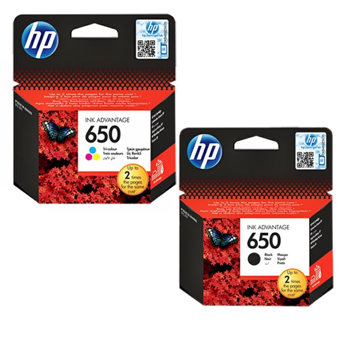 HP 650 Tri-color + HP 650 Black Original Ink Advantage Cartridge